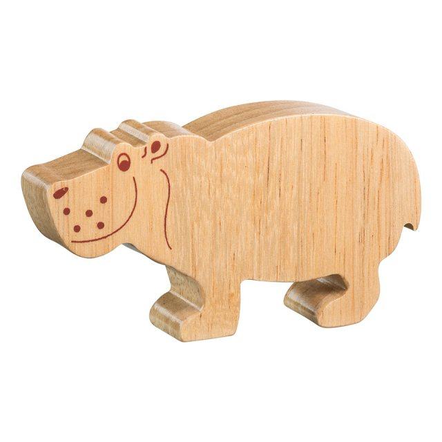A chunky wooden hippo toy figure in profile, plain showing wood grain