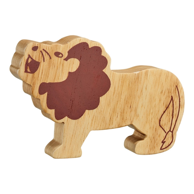 A chunky wooden lion toy figure in profile, plain showing wood grain