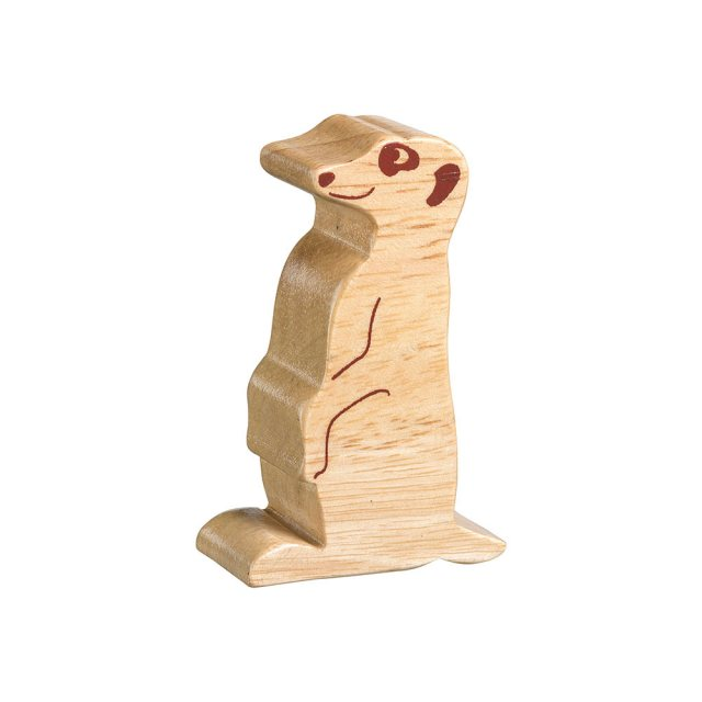 A chunky wooden meerkat toy figure in profile, plain showing wood grain