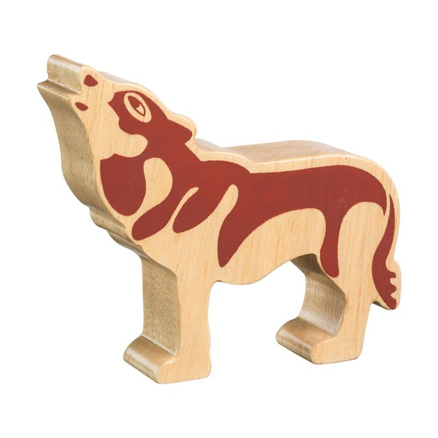 A chunky wooden wolf toy figure in profile, plain showing wood grain