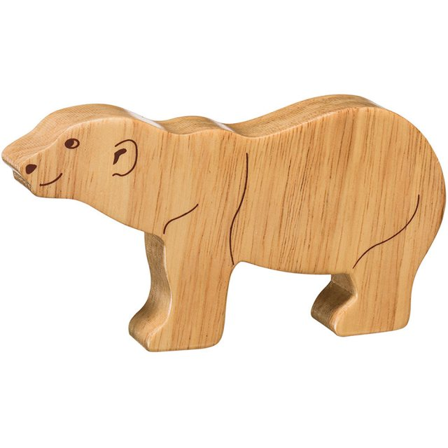 A chunky wooden polar bear toy figure in profile, plain showing wood grain