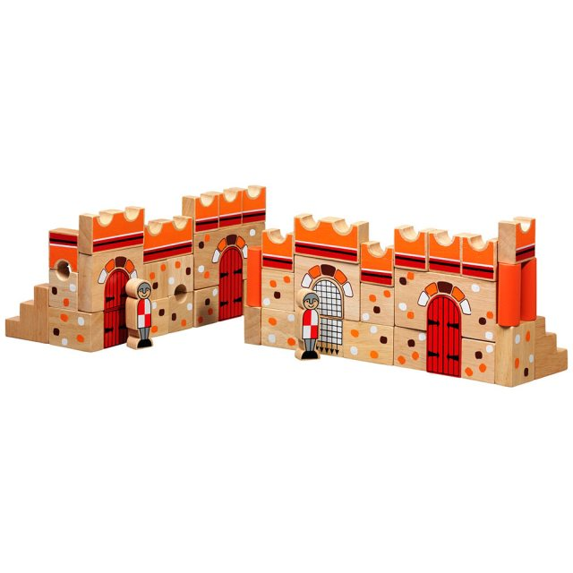 Set of 46 multicoloured wooden building blocks and characters depicting a traditional castle