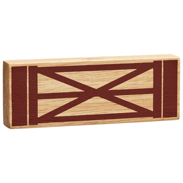 Chunky natural wood gate toy for small world play with brown bar detailing