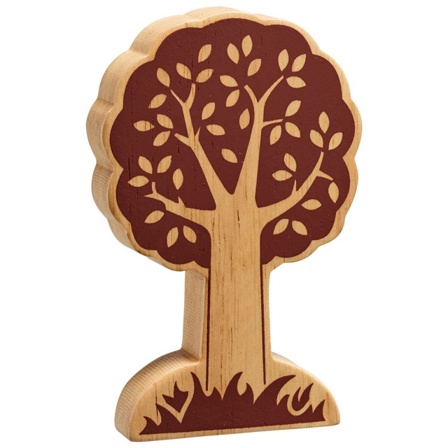 Chunky natural wood tree toy for small world play with brown detailing