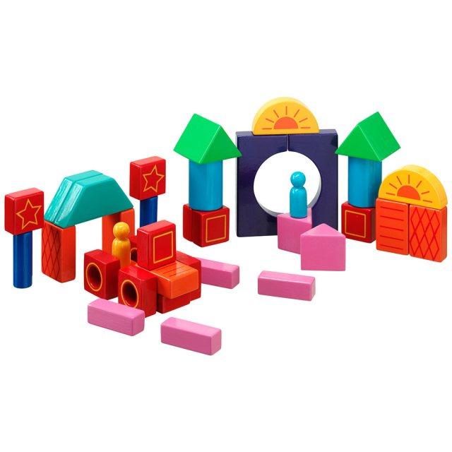 Set of 38 multicoloured wooden building blocks in varying shapes, plain and with details