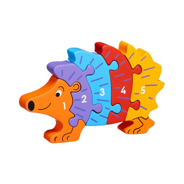 Five piece chunky wooden multicoloured hedgehog 1-5 jigsaw puzzle in profile free standing