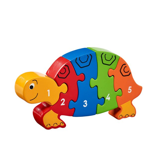 Five piece chunky wooden multicoloured tortoise 1-5 jigsaw puzzle in profile free standing