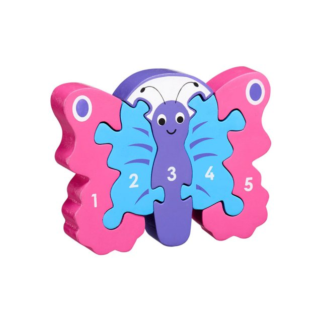 Five piece chunky wooden pink/purple butterfly 1-5 jigsaw puzzle in profile free standing