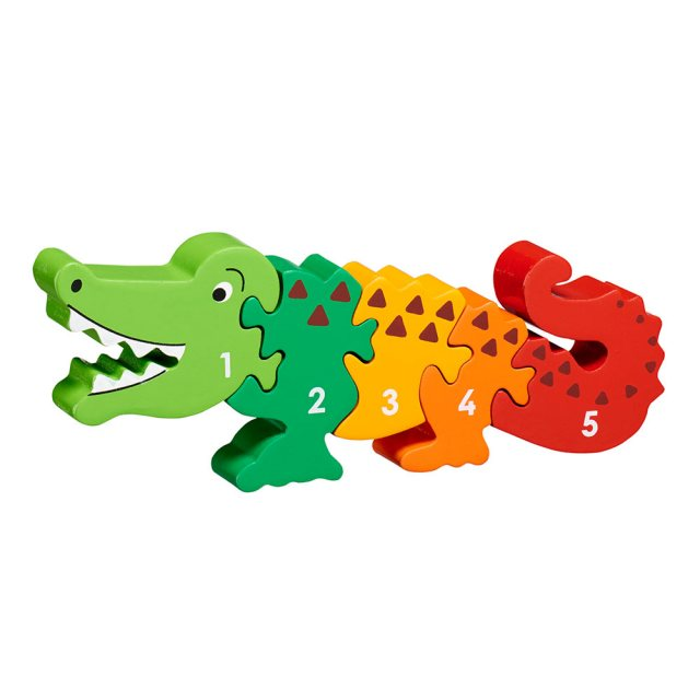 Five piece chunky wooden multicoloured crocodile 1-5 jigsaw puzzle in profile free standing