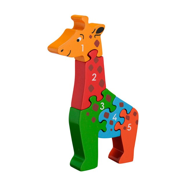 Five piece chunky wooden multicoloured giraffe 1-5 jigsaw puzzle in profile free standing