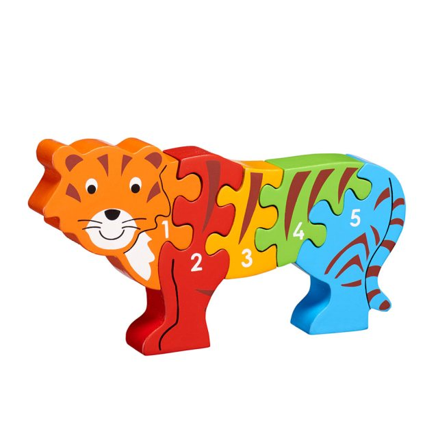 Five piece chunky wooden rainbow tiger 1-5 jigsaw puzzle in profile free standing