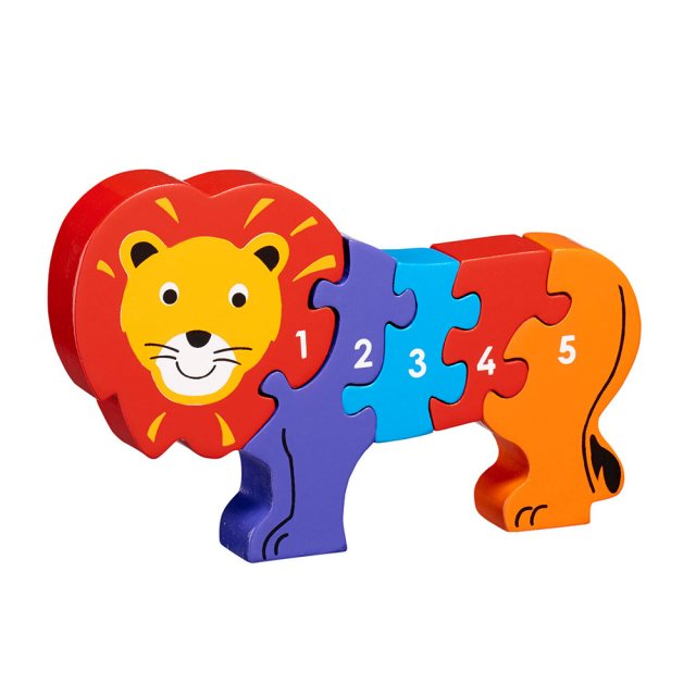 Five piece chunky wooden multicolooured lion 1-5 jigsaw puzzle in profile free standing