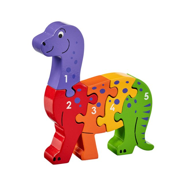 Five piece chunky wooden multicoloured dinosaur 1-5 jigsaw puzzle in profile free standing