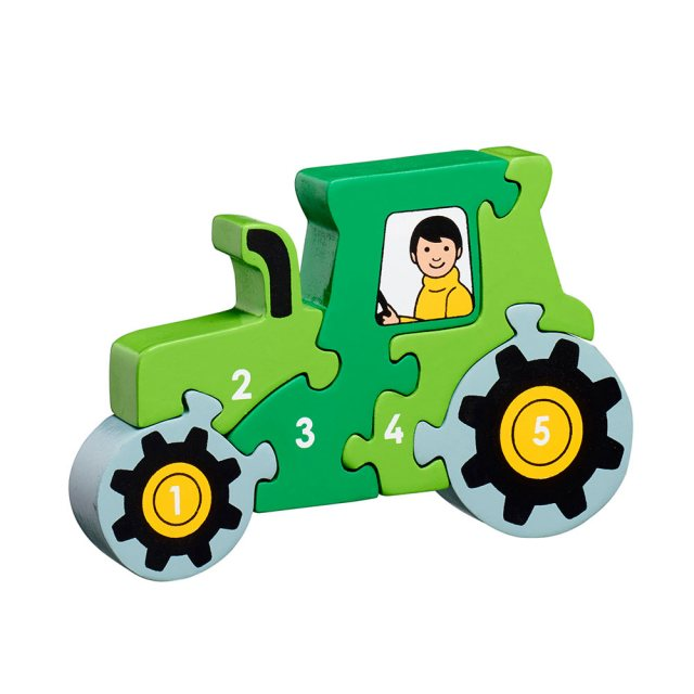 Five piece chunky wooden green tractor 1-5 jigsaw puzzle in profile free standing