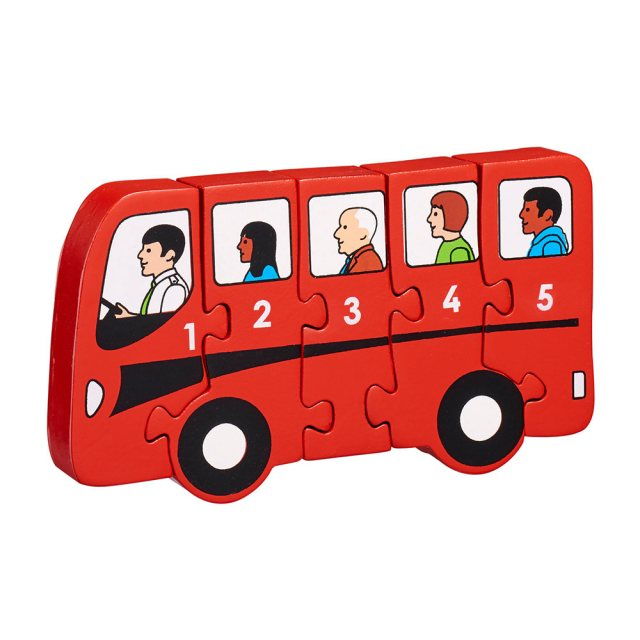 Five piece chunky wooden red bus 1-5 jigsaw puzzle in profile free standing