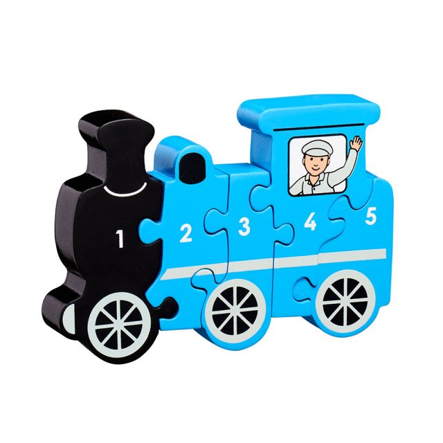 Five piece chunky wooden blue steam train 1-5 jigsaw puzzle in profile free standing