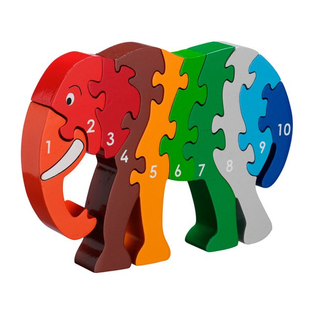 Ten piece chunky wooden rainbow elephant 1-10 jigsaw puzzle in profile free standing
