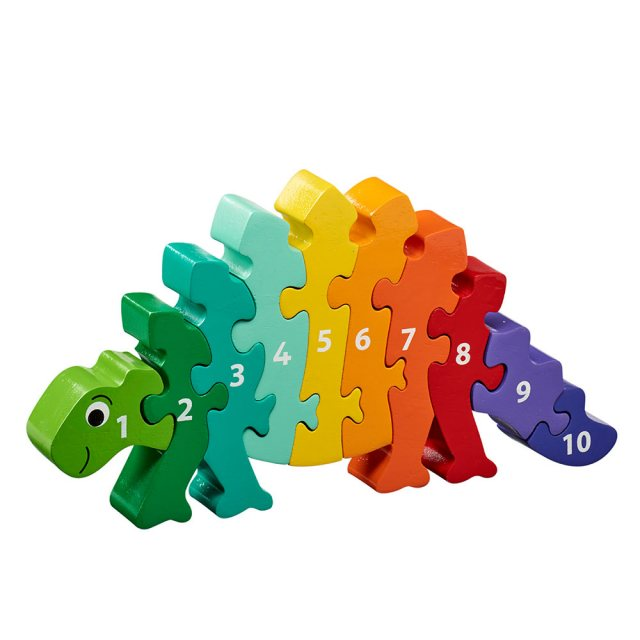 Ten piece chunky wooden rainbow stegosaurus dinosaur 1-10 jigsaw puzzle in profile free standing