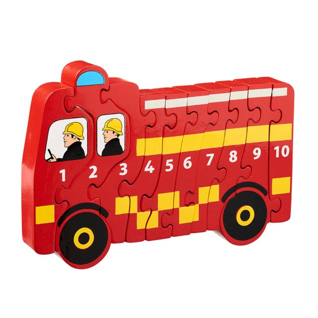Ten piece chunky wooden red fire engine 1-10 jigsaw puzzle in profile free standing