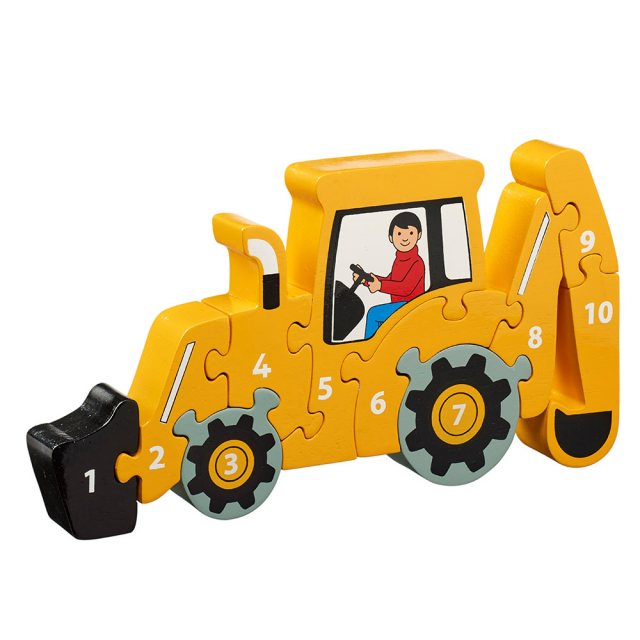 Ten piece chunky wooden yellow digger 1-10 jigsaw puzzle in profile free standing