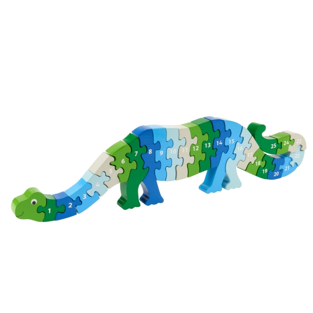 Twenty six piece chunky wooden blue and green dinosaur 1-25 jigsaw puzzle in profile free standing