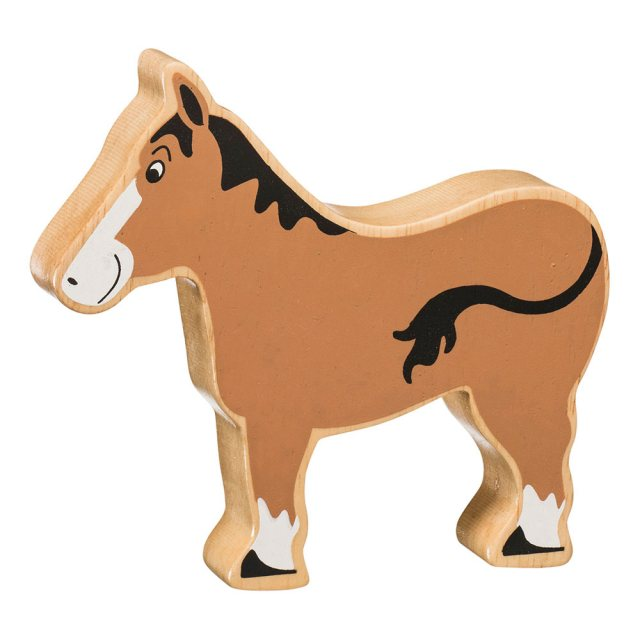 A chunky wooden brown horse toy figure in profile with a natural wood edge