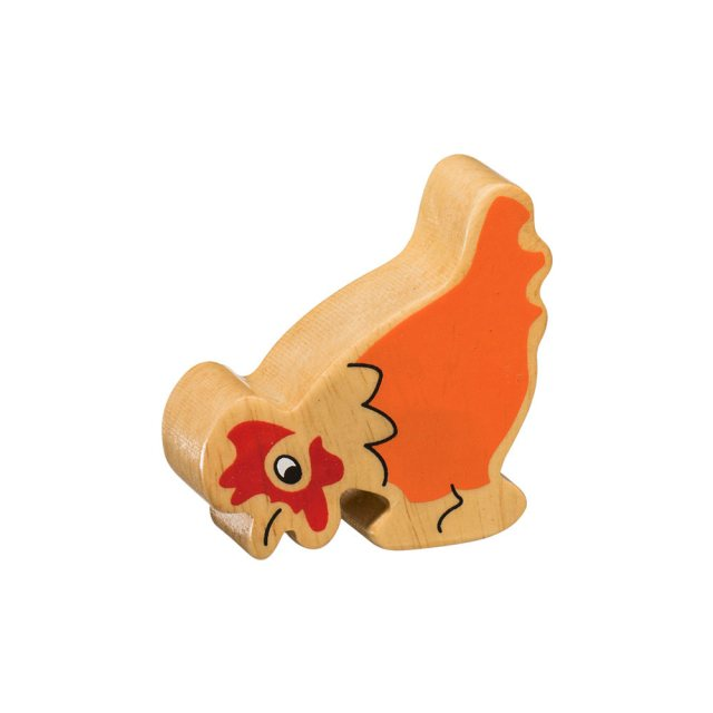 A chunky wooden orange chicken toy figure in profile with a natural wood edge