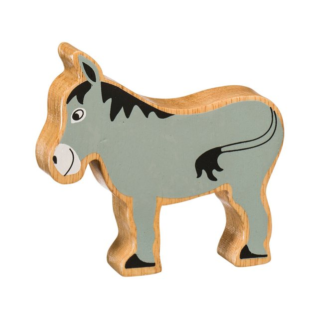 A chunky wooden grey donkey toy figure in profile with a natural wood edge