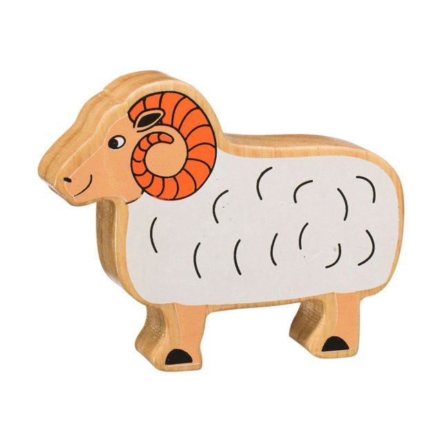 A chunky wooden white ram toy figure in profile with a natural wood edge