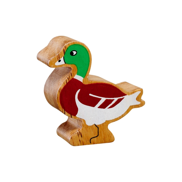A chunky wooden brown/green duck toy figure in profile with a natural wood edge