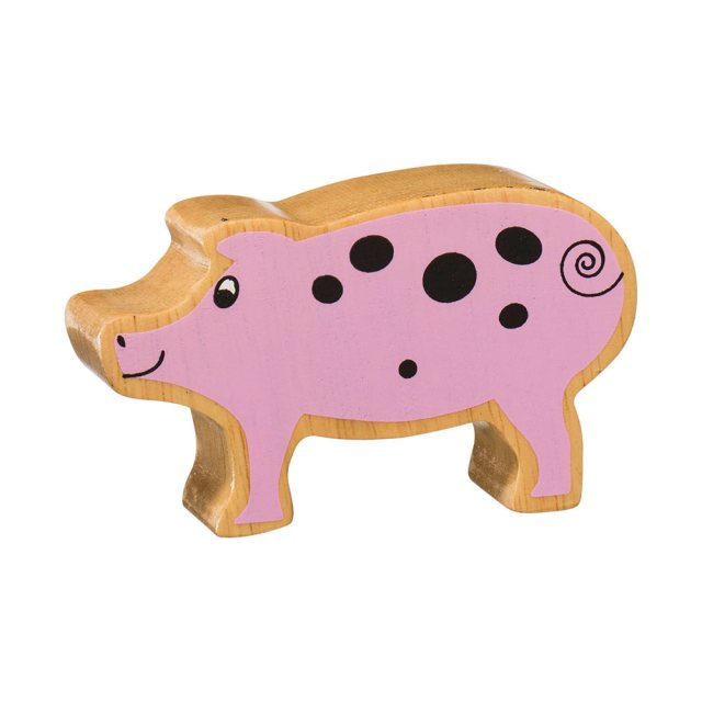 A chunky wooden pink piglet toy figure in profile with a natural wood edge