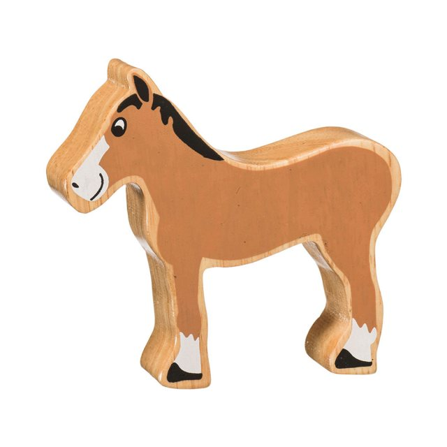 A chunky wooden brown foal toy figure in profile with a natural wood edge