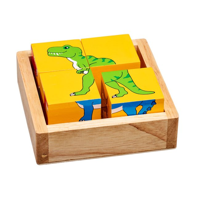 Four piece dinosaur block puzzle showing yellow size with T-Rex design in a plain wooden tray