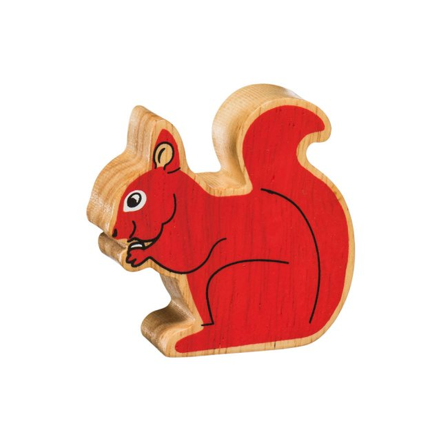 A chunky wooden red squirrel toy figure in profile with a natural wood edge