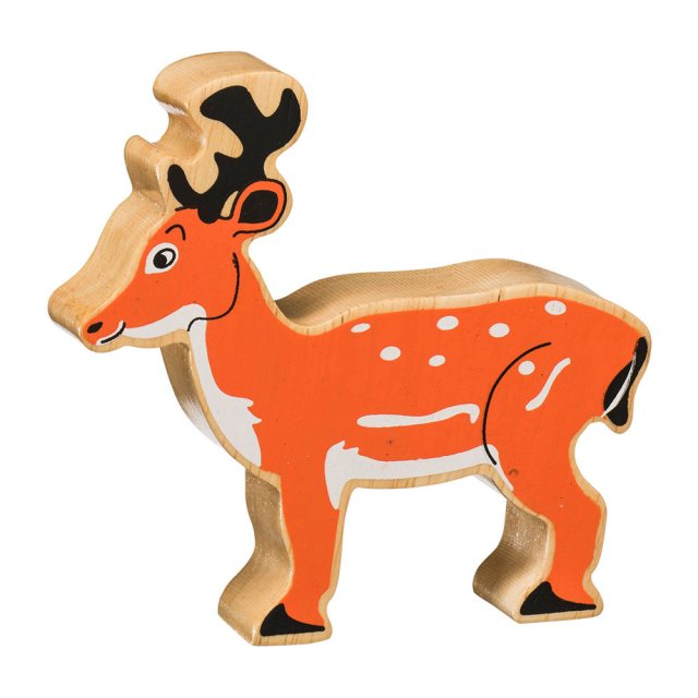 A chunky wooden brown/orange deer toy figure in profile with a natural wood edge