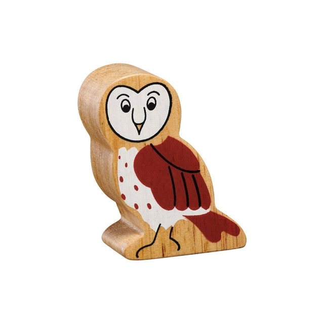 A chunky wooden brown/ white owl toy figure in profile with a natural wood edge