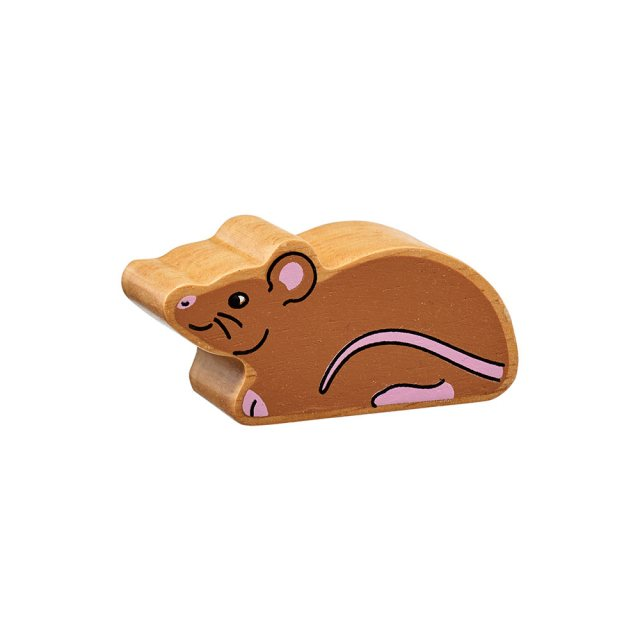 A chunky wooden brown mouse toy figure in profile with a natural wood edge