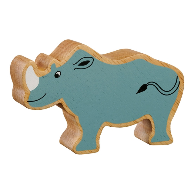 A chunky wooden grey rhinoceros toy figure in profile with a natural wood edge