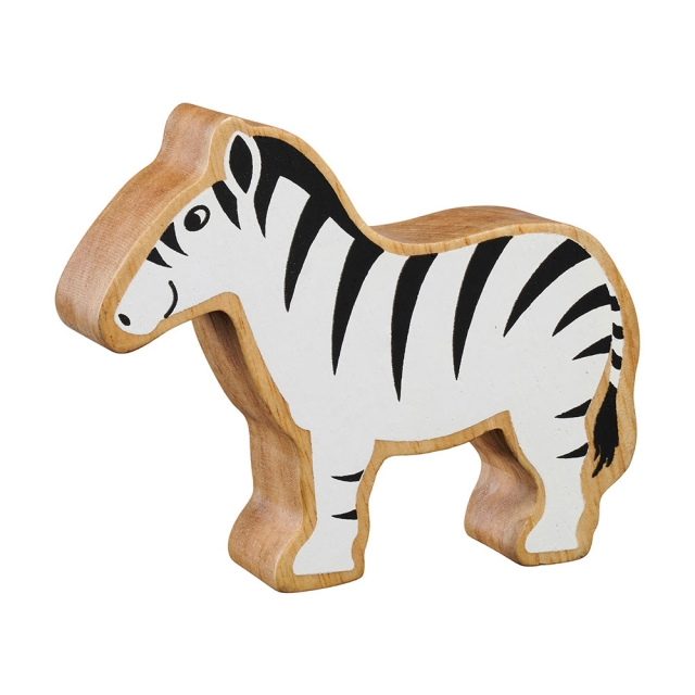 A chunky wooden black/white zebra toy figure in profile with a natural wood edge