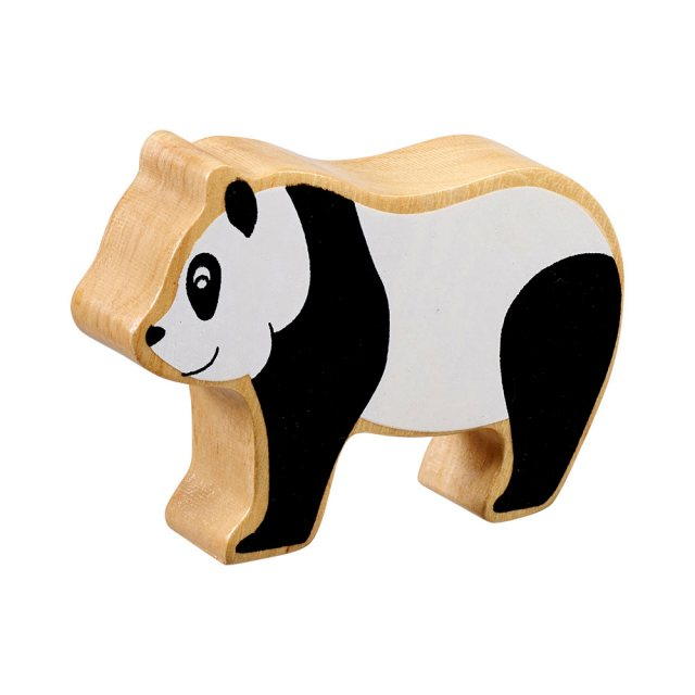 A chunky wooden black/white panda toy figure in profile with a natural wood edge