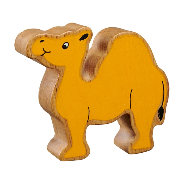 A chunky wooden painted yellow camel toy figure in profile with a natural wood edge