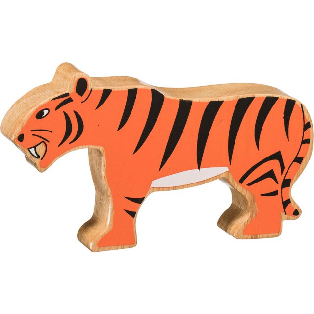 A chunky wooden painted orange stripey tiger toy figure in profile with a natural wood edge