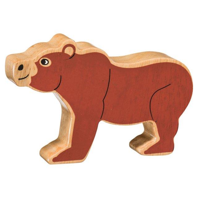 A chunky wooden painted brown bear toy figure in profile with a natural wood edge