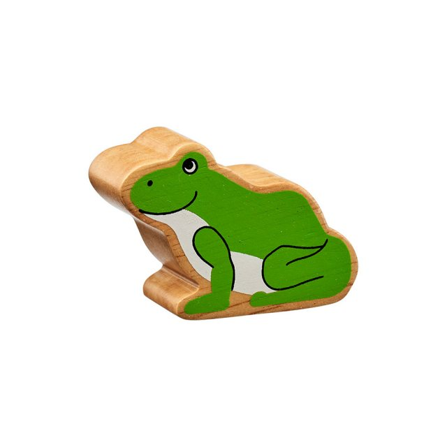 A chunky wooden painted green frog toy figure in profile with a natural wood edge