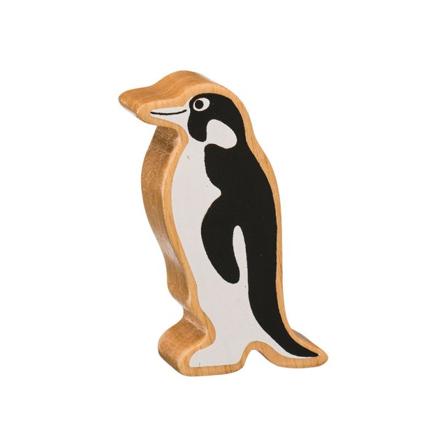 A chunky wooden painted black/white penguin toy figure in profile with a natural wood edge