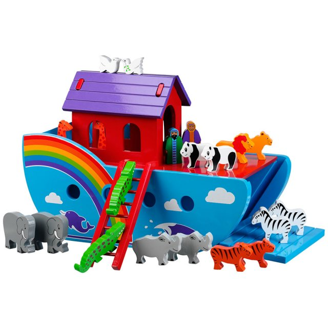 Colourful large Noah's ark with rainbow details, 9 pairs of animals plus Mr and Mrs Noah