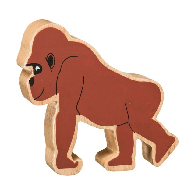 A chunky wooden painted brown gorilla toy figure in profile with a natural wood edge
