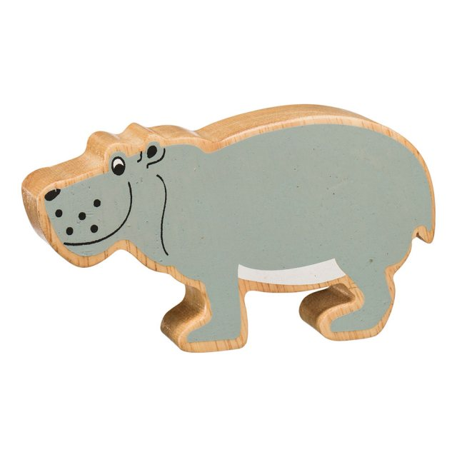 A chunky wooden painted grey hippo toy figure in profile with a natural wood edge