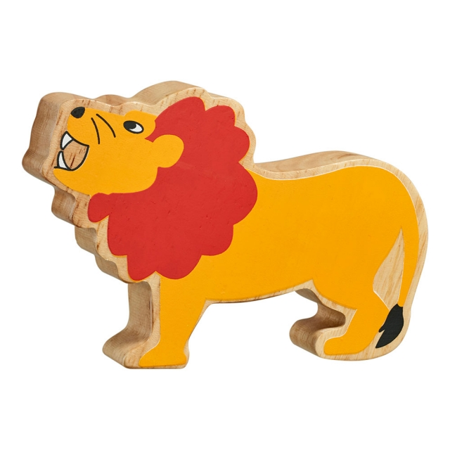 A chunky wooden painted yellow lion toy figure in profile with a natural wood edge