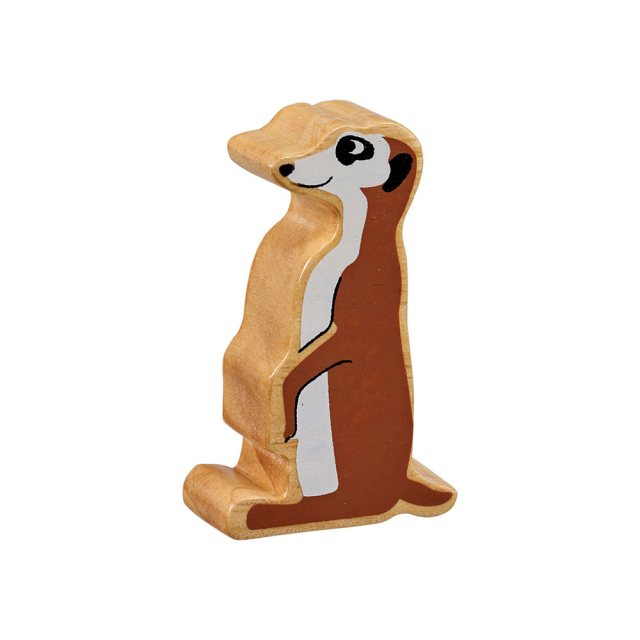 A chunky wooden painted brown/cream meerkat toy figure in profile with a natural wood edge